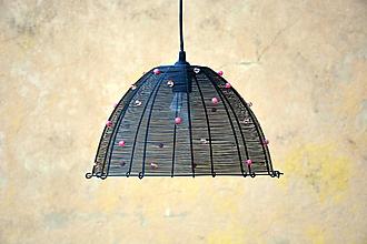 Svietidlá a sviečky - V růžovém. Drátovaný lustr. - 9928800_