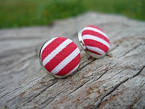 Náušnice - VÝPREDAJ! Náušnice Buttonky červeno-bílé proužky - 9929122_