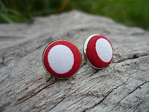 Náušnice - VÝPREDAJ! Náušnice Buttonky Red Dots - 9929189_