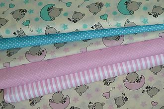 Textil - Látka Dobrú noc, mačiatko (Ružová) - 9927278_