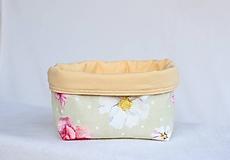 - Úložný košík jemná zelená & kvety - 9928579_