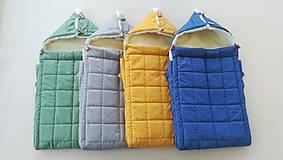 Textil - RUNO SHOP fusak pre deti do kočíka 100% ovčie runo MERINO TOP super wash ELEGANT royal blue / olive green/ mustard/ grey - 9928265_