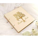 Papiernictvo - Drevená svadobná kniha hostí (25 listov 300g matný (na lepenie fotiek)) - 9927142_