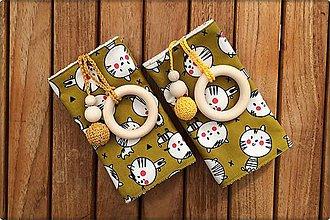 Detské doplnky - Slintáčiky Mačky okrové - návleky na ergonomický nosič (Mačky s medovými doplnkami) - 9929041_
