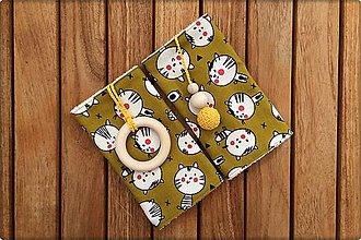 Detské doplnky - Slintáčiky Mačky okrové - návleky na ergonomický nosič (Mačky so žltými doplnkami) - 9929044_