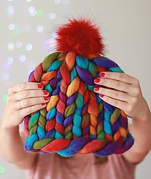 """Čiapky - Chunky """"Handspunka"""" extra hrubá pletená vlnená merino čiapka - 9928075_"""