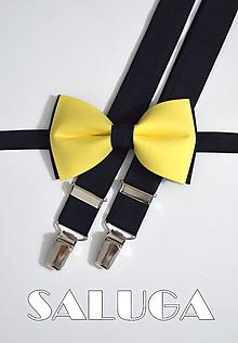Doplnky - Pánsky žlto čierny motýlik a traky - 9928638_