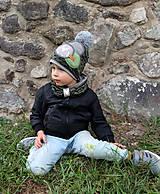 Detské čiapky - Tmavo zelený set so sivým paroháčom a brmbolcom - 9928477_