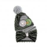 Detské čiapky - Tmavo zelený set so sivým paroháčom a brmbolcom - 9929003_
