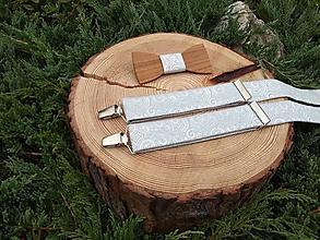 Doplnky - Pánsky set - drevený motýlik a traky - 9926732_