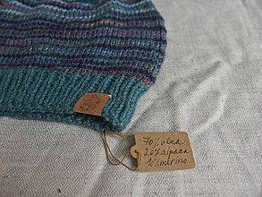 Čiapky - Vlnená čiapka tyrkysovo-fialová - 9927295_