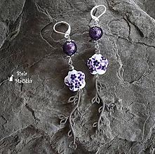 Náušnice - Keramické náušnice, fialová, ornament, striebro - 9928515_