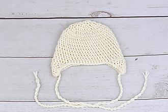Detské čiapky - Smotanová ušianka EXTRA FINE (čistá) - 9927570_