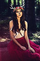 Ozdoby do vlasov - Venček s parožkami z Halloweenskej kolekcie - 9929112_