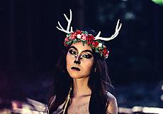 Ozdoby do vlasov - Venček s parožkami z Halloweenskej kolekcie - 9929113_