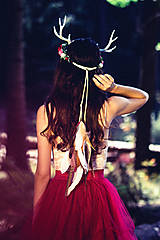 Ozdoby do vlasov - Venček s parožkami z Halloweenskej kolekcie - 9929114_