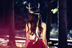 Ozdoby do vlasov - Venček s parožkami z Halloweenskej kolekcie - 9929115_