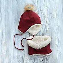 Detské súpravy - Zimný set bordó & fleece cream - 9928980_