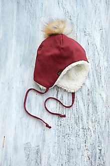 Detské čiapky - Zimná čiapka bordó & fleece cream - 9928999_