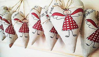 Dekorácie - Anjelské vianočné srdiečka - 9926920_