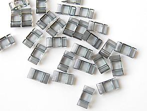 Korálky - Carrier dvojdierkové ploché korálky - Black Diamond 17x9,5 mm, bal.10ks - 9926507_