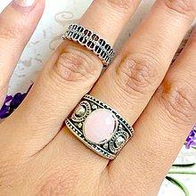 Prstene - Double Rose Quartz Antique Silver Knuckle & Finger Ring / Sada 2 starostrieborných prsteňov s ruženínom /0014 - 9929500_