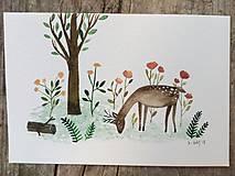Obrazy - Srnka ilustrácia pohľadnica  / originál maľba  - 9929797_