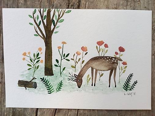 Srnka ilustrácia pohľadnica  / originál maľba