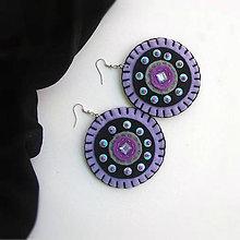 Náušnice - megakruhy fialovo čierne - 9930341_