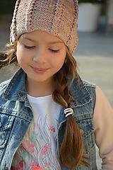 Detské čiapky - melír v béžové - 9929445_