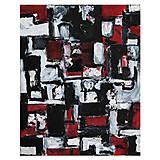 Obrazy - cenzúra /abstraktná maľba na plátne - kombinovaná technika/ - 9931281_