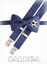 Doplnky - Pánsky set motýlik + traky - pre futbalistu - modrý - 9929829_
