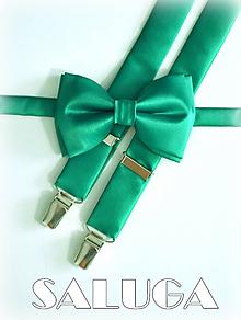 Doplnky - Tmavo zelený pánsky motýlik a traky - smaragdový - 9930682_