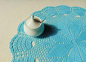 Úžitkový textil - Tyrkysová háčkovaná dečka - 9930147_