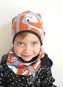 Detské čiapky - čiapka z biobavlny Líšky - 9929416_