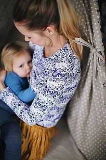 Tričká - Tričko na dojčenie Blue folk - 9931074_