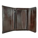 Dámska kožená peňaženka s bohatou výbavou, tmavo hnedá