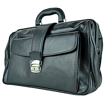Tašky - Kožený pracovný lekársky kufor v čiernej farbe - 9929660_