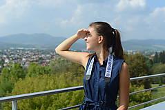 Nezaradené - popruh na fotoaparát modro-biely - 9929909_