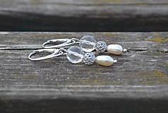 Náušnice - Riečne perly a krištáľ náušnice Ag 925 - 9930500_