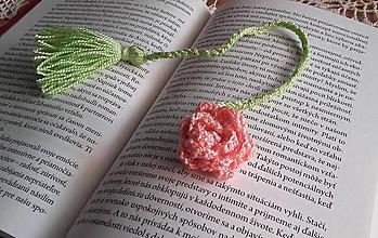 Drobnosti - Háčkovaná záložka do knihy -  ruža - 9930612_