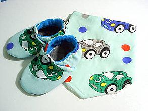 Detské súpravy - šatka na krk + capačky - 9931058_