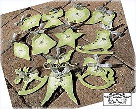 """Dekorácie - Drevené ozdôbky """"Pastel green"""" :) - 9930809_"""