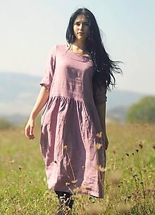 Šaty - Mauve šaty lněné - 9930739_