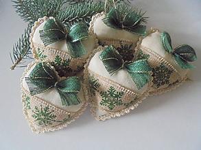 Dekorácie - Vianočné srdiečka ako ozdoba na stromček - 9930349_