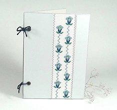 Papiernictvo - Modrý encián - folk vyšívané leporelo - 9930254_