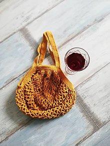 Nákupné tašky - Jesenné háčkované sieťovky s dlhým uchom  (Meď/Bronz) - 9932708_