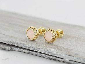 Náušnice - CERTIFIKÁT 14k zlaté náušnice s prírodným ruženínom - 9931729_