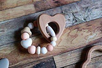 Detské doplnky - silikónové náramky pre prvé zúbky (Béžová) - 9933661_