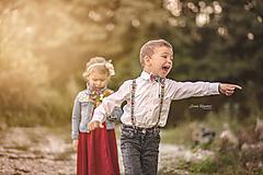 Detské doplnky - NOVINKA Detský folk set traky z gumy a extra vystužený motýlik - biely - 9934421_